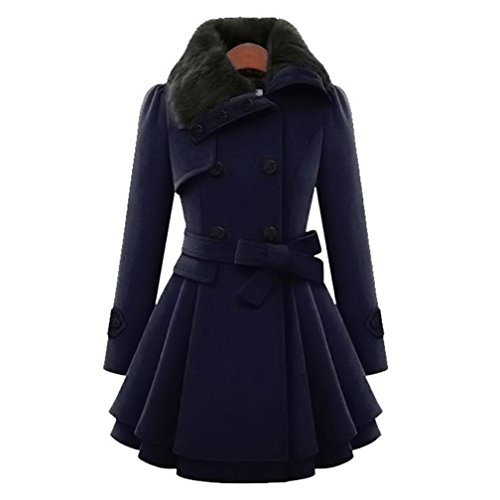 Paymenow Women Notched Lapel Double Breasted Worsted Warm Ruffled Pea Worsted Coat Jacket (Dark Blue, XXL) -
