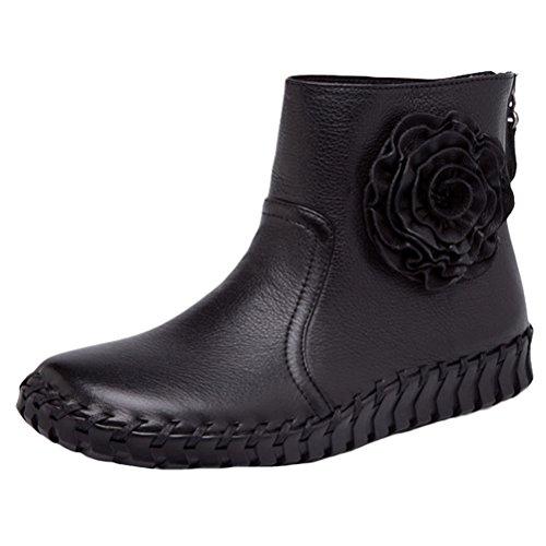 MatchLife Damen Vintage Frühling Sommer Leder Flach Ankle Boots Style2 Schwarz