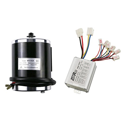 ZXTDR 24v 500w Brushed Speed Motor and Controller Set for Electric Scooter Go Kart Bicycle e Bike Tricycle Moped