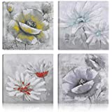 Art Maison Giclee Gallery Wrapped Canvas Wall Art|Modern Décor for Home and Office | Ready to Hang |Set of 4(12x12INCH), S (Frame Type 1), Floral White Blooms