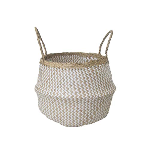 Grafinteriors Korb SJÖRAS, Aufbewahrungskorb handgeflochten aus Seegras, GI Design (Weiß, Größe M)