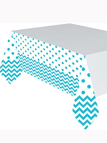 Caribbean 6 Piece - Amscan Party Supplies Chevron Table Cover-Caribbean Blue (6 Piece), Multi