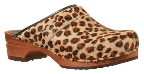 Sanita 'Leopard' Print Wooden Clogs  - 39