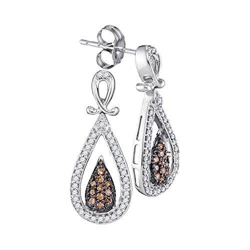 10k White Gold Brown Diamond Teardrop Dangle Earrings Pear Drop Hanging Style Cluster Fancy Small 1/3CT ()