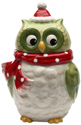 Cosmos Gifts 10901 Owl Design Ceramic Holiday Cookie Jar, 9-5/8-Inch