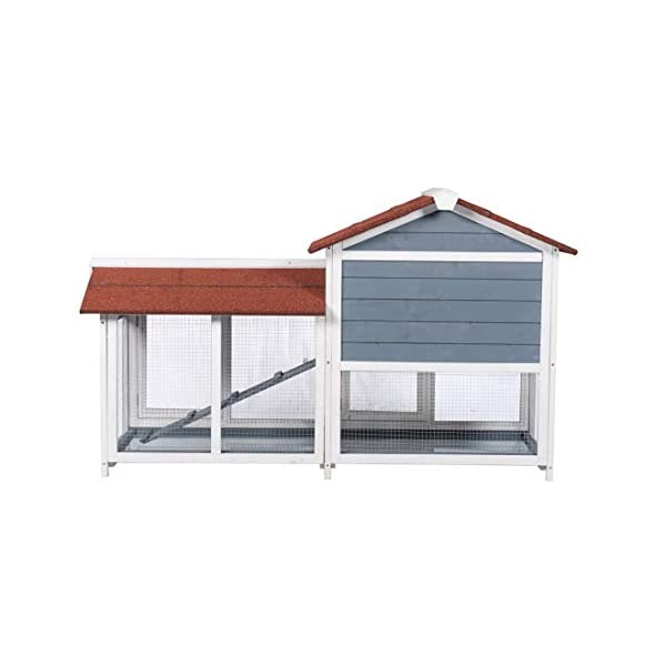 "Good Life Two Floors 62"" Wooden Outdoor Indoor Roof Waterproof Bunny Hutch Rabbit Cage Guinea Pig Coop PET House for Small to Medium Animals with Stairs and Cleaning Tray PET537 6"