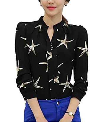 Dpo women 39 s button down long sleeve printed shirt tailored for Womens tall button down shirts