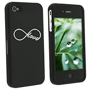 Apple iPhone 4 4S Black Rubber Hard Case Snap on 2 piece Infinity Infinite Love