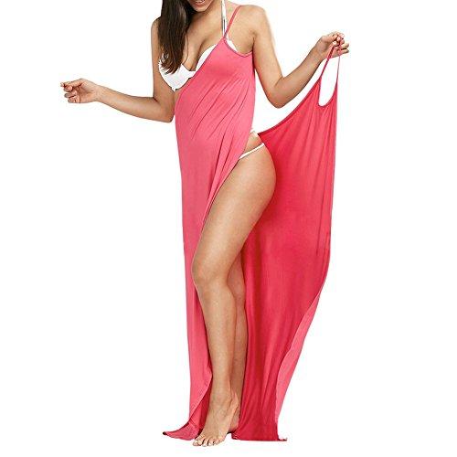 Sunm boutique Women Spaghetti Strap Cover Up Beach Backless Wrap Long Dress Beach (Beaded Spaghetti Strap Skirt)