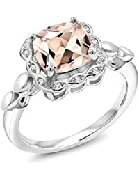 1.98 Ct Cushion Peach Morganite White Created Sapphire 925 Sterling Silver Ring