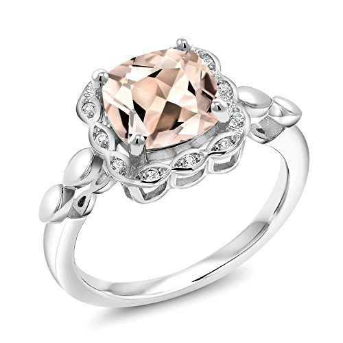 Gem Stone King 1.98 Ct Cushion Peach Morganite White Created Sapphire 925 Sterling Silver Ring (Size 7)