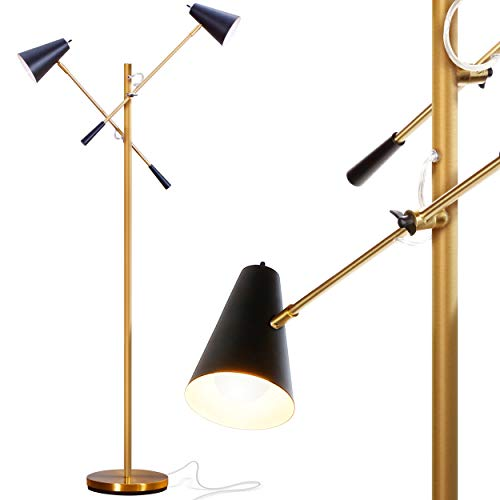 Lamp Floor Decorators Modern Home - Brightech Ella - Mid Century Modern, Gold LED Floor Lamp with Two Arms –Standing Light for Living Room, Office, Crafts & Tasks – Enjoy Sewing, Puzzles – Gold/Brass & Black