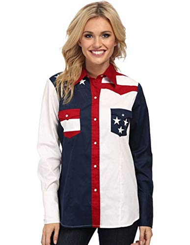 Roper Women's Plus Size Pieced Stars and Stripes Patriotic Blue 2X ()