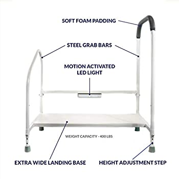 Image of Health and Household Step2Bed Bed Rails For Elderly with Adjustable Height Bed Step Stool & LED Light for Fall Prevention - Portable Medical Step Stool comes with Handicap Grab Bars making it easy to get in and out of bed