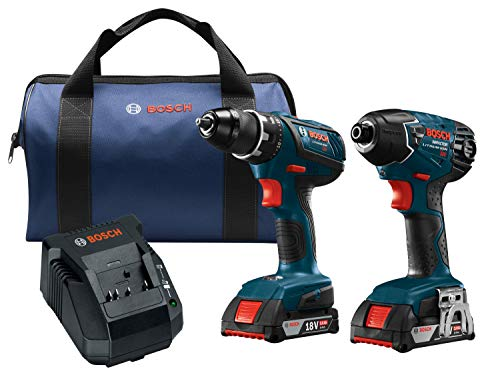 Lithium 18v Drill Driver - Bosch Power Tools Drill Set - CLPK232A-181 - 18-Volt Cordless Drill Driver/Impact Combo Kit with 2 Batteries, 18V Charger and Soft Carrying Case