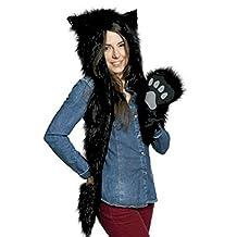 Black Cat Anime Faux Animal Hood Hoods Spirit Paws Ears Mittens Gloves Scarf