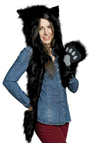 Halloween Wolf Costume Kids (Halloween Costume Black Wolf Animal Anime Hood Cosplay Party with Paws and Ears Zipper Pocket)