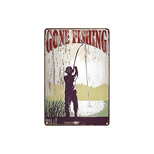 metal tin sign Gone Fishing Poster Bar Cafe Garage Wall Decor Retro Vintage 7.87 X 11.8 inch - Gone Fishing Sign