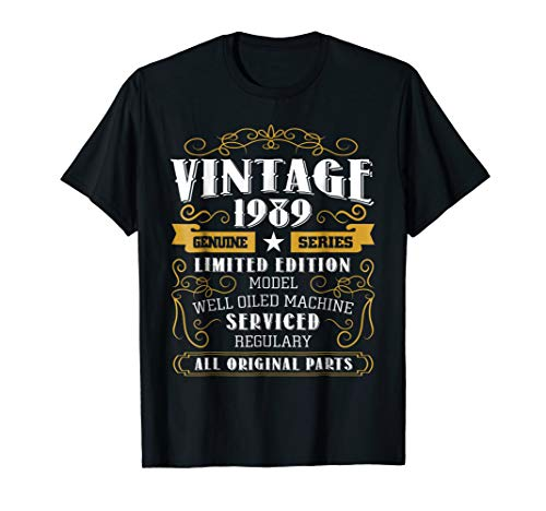 Vintage 1989 30th Birthday Gift Funny 30 years old Tshirt