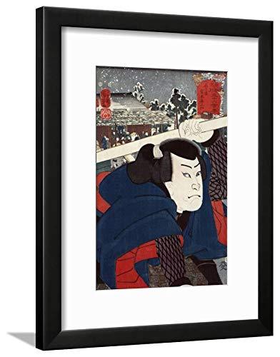 ArtEdge Actor Miyamoto Musashi, Japanese Wood-Cut Wall Art Framed Print, 16x12, Black Soft White Mat