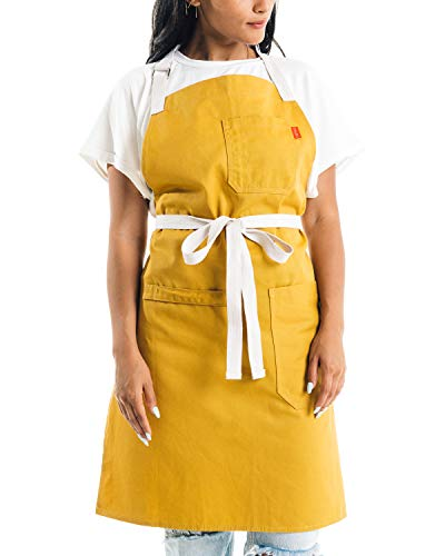 Caldo Cotton Kitchen Apron - Mens and Womens Professional Chef Bib Apron - Adjustable Straps with Pockets and Towel Loop (Mustard)