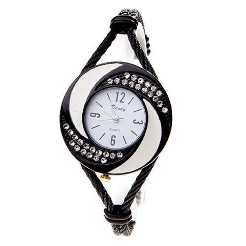 Soleasy New Fashion Women's Bangle Wrist Watch Quartz Black-White WTH0205
