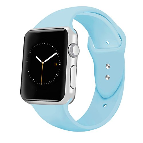 iGK Sport Band Compatible for Apple Watch 42mm, Soft Silicone Sport Strap Replacement Bands Compatible for iWatch Apple Watch Series 3, Series 2, Series 1 42mm Light Blue Large
