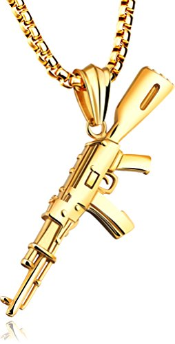Wonlines Hip Hop Stainless Steel AK-47 Gun Tag Pendant Chain Necklace(Gold)