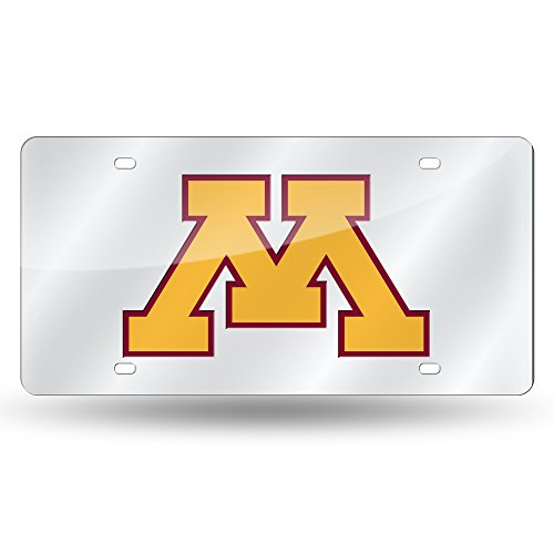 Rico Industries NCAA Minnesota Golden Gophers Laser Inlaid Metal License Plate Tag, Silver ()