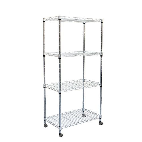 djustable Metal Storage Rack Shelving Unit with Wheels, Silver (Adjustable Open Wire Shelving Unit)