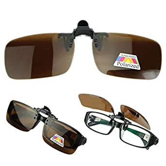 Polarized Clip On Driving Sunglasses Lens Day Night Vision Glasses M Size Brown [ETH-P10]