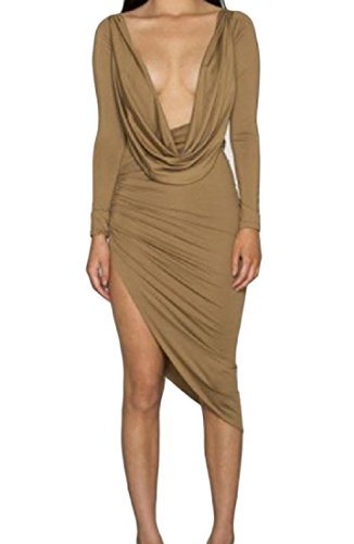 Club Cut Solid Apricot Women's Dress Low Cut Out Cocktail Dress Wild Coolred qRSwzaZn