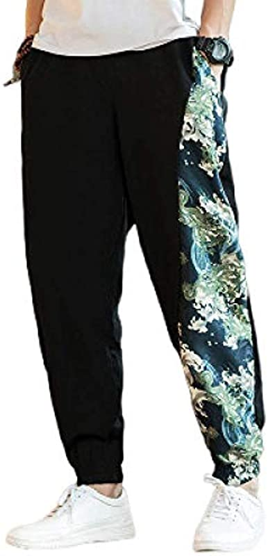 Men's Pants Stitching Casual Pants Chinese Style Printed solid Color Drawstring Large Size Loose Beam feet Pants: Odzież