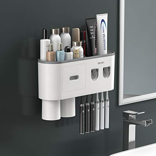 BHeadCat Double Automatic Toothpaste Dispensers Wall Mounted Toothbrush Holder Kit for Bathroom and Vanity, with 6 Brush Slots 2 Magnetic Cups 1 Cosmetic Drawer Organizer 1 Large Storage Tray