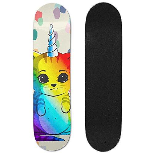 Rainbow Cat Maple Games Skateboard Longboards Deck Print School Skateboard Long Plate Double Play Scooter - Tony Hawk Sunglasses