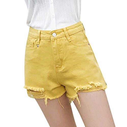 Femme Taille Streetwear Courtes Hotpants Irrgulire Denim Xinwcanga Jaune Haute Ripped Vintage BfwHAqd