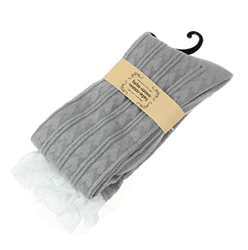 HP95(TM) Women Lace Crochet Knitting Thick Boot Sock, Leg Warmers Over Knee Sock Light Grey