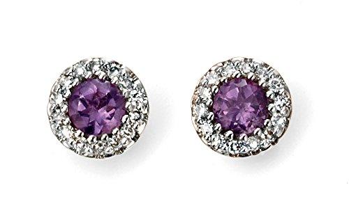 Jewellery World Bague en or jaune 9carats Diamant et Améthyste Boucles d'oreilles grappe