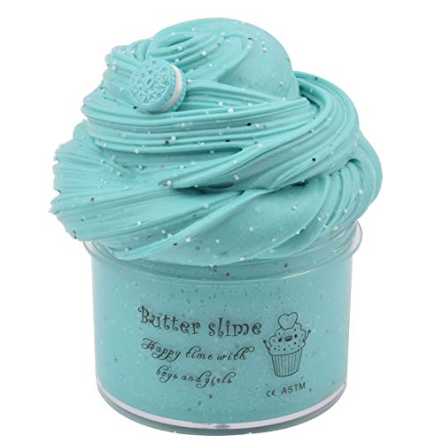 Q-BABY 8oz Putty Slime Toys with Charms, Cotton Slime for Girls, Slime for Kids, Slime Party Favors, Butter Slime Popular ASMR Stress Relief (Blue)