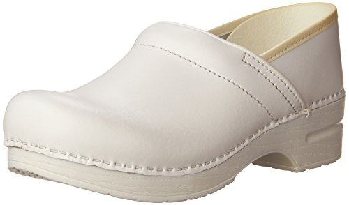 Clogs White Leather - Dansko Women's Professional Box Leather Clog,White,38 EU / 7.5-8 B(M) US