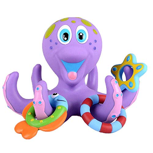 dahutong Bath Toy Bathtub Toy Ring Toss Baby Bath Toy Tub Toy Octopus Pool Floating Toy