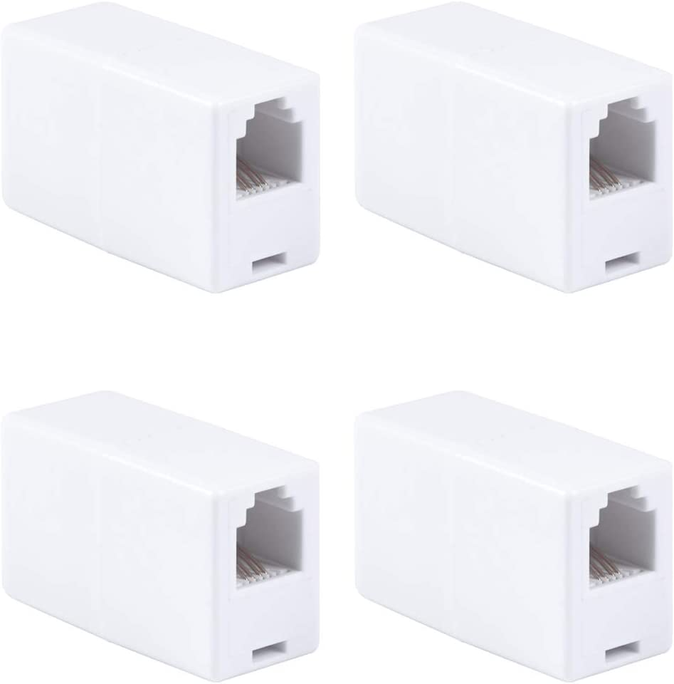 46087 4 Pack Hubs GE White Ethernet Cable Extender Compatible with CAT5 CAT5E CAT6 Routers RJ45 Coupler Home or Office Works with Modems