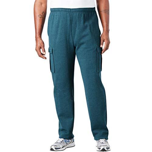 KingSize Men's Big & Tall Fleece Cargo Sweatpants, Heather Midnight Teal