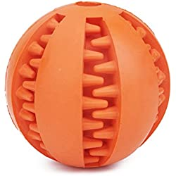 ORRIPOT Yvetel IQ Treat Ball [Chew Toy] FOR DOGS & CATS [Dental Treat][Bite Resistant] Durable Non Toxic- BPA FREE-Strong Tooth Cleaning for Pet Training/Playing/Chewing (Orange)