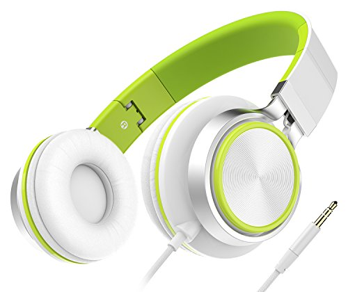 Kids Headphones, Honstek Foldable Lightweight On Ear Headphones for Kids Girls Boys, Wired Stereo Comfortable Headset Compatible with iPhone iPad PC Xbox Tablets MP4 (White/Green)