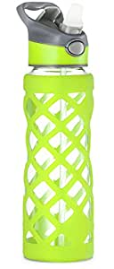 Swig Savvy 25oz Glass Water Bottle - Protective Silicone Sleeve With 3 Interchangeable Leak-proof Caps . Sleek, Durable & Stylish – PBA Free – Break Resistant Borosilicate Glass (Green, 2 Pack)