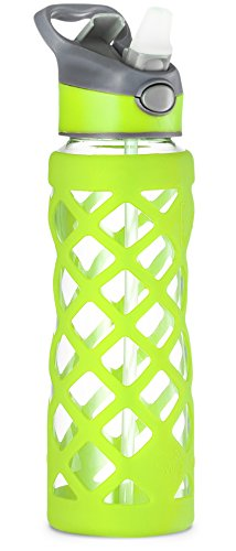 Swig Savvy 25oz Glass Water Bottle - Protective Silicone Sleeve With 3 Interchangeable Leak-proof Caps . Sleek, Durable & Stylish – PBA Free – Break Resistant Borosilicate Glass (Green, 1 Pack)
