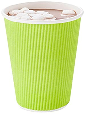 Disposable Paper Hot Cups - 500ct - Hot Beverage Cups, Paper Tea Cup - Eco Green - Ripple Wall, No Need For Sleeves - Insulated - Wholesale - Takeout Coffee Cup - Restaurantware