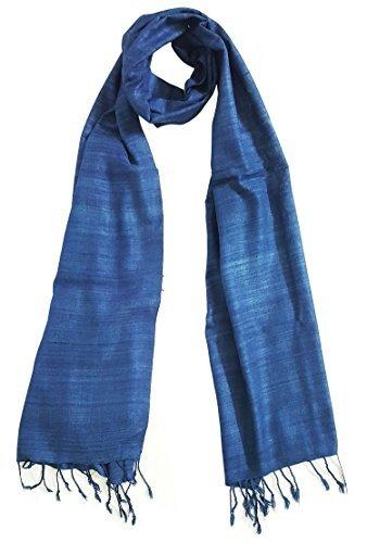 Mehrunnisa Ahimsa / Peace / Eri Silk Stole / Large Scarf Wrap In Organic Colors (Indigo Blue) - Indigo Silk Wrap