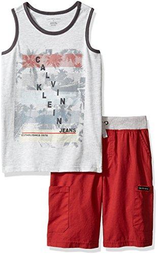 Calvin Klein Little Boys 2 Pieces Tank Top Short Set, Gray, 6